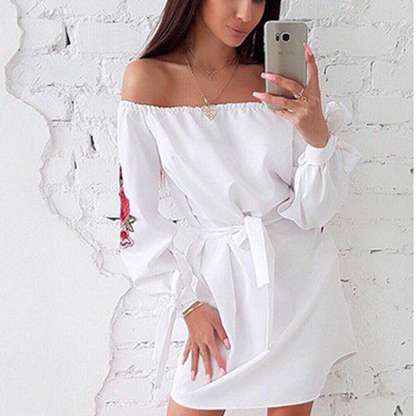 Fashion Off Shoulder Embroidery Mini Dress
