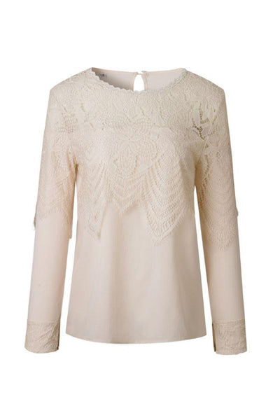 Round Neck  Lace Plain  Blouses
