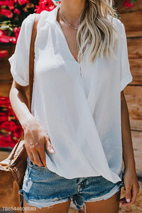 Sexy V Neck Short Sleeve Corss Pleated Plain Blouses