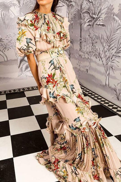 Sexy Floral Print Round Neck Puff Medium Sleeve Ruffled Joint Maxi Dress