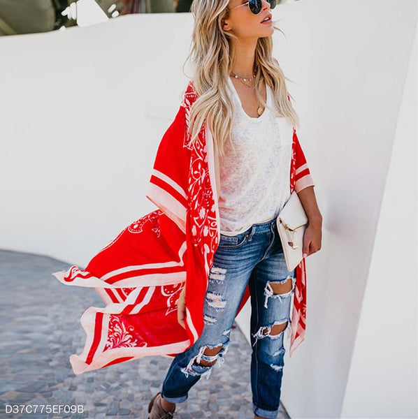 Printed Loose Casual Long Blouse Jacket