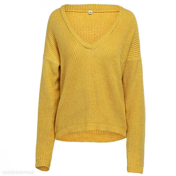 Sexy Deep V Pure Long Sleeve Sweater Sweater