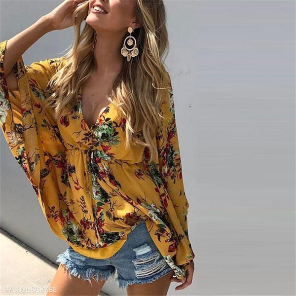 V-Collar Printed Loose Shirt