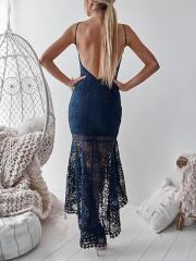 Pleated Lace Sexy Halter Halter Fishtail Bodycon Dress