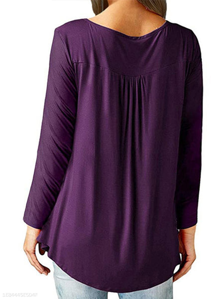 Scoop Neck  Plain Long Sleeve T-Shirts