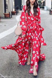 V Collar Long-Sleeve Printing Belt Maxi Dress