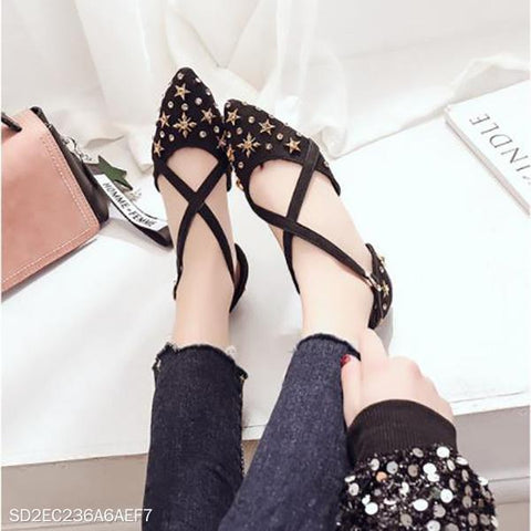 Cross Strap Fashion Point Shoes Wild Flat Star Rhinestone Sandals