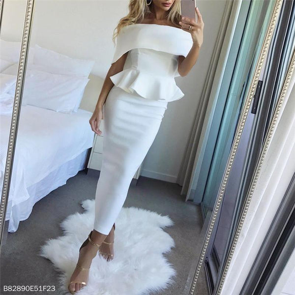 Sexy Shoulder Pure Color Cover Bodycon Dresses