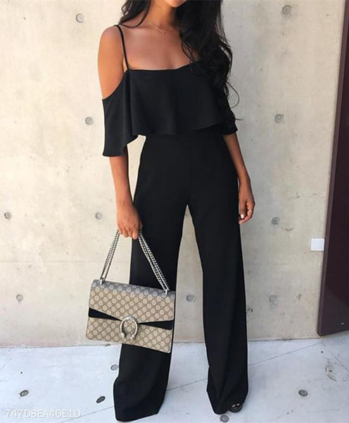 Sexy Bare Shoulder Pure Color Jumpsuit