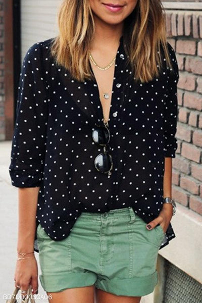 Band Collar  Single Breasted  Polka Dot  Blouses