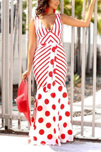 Sexy V-Collar Open-Back Striped Dot Print Dress