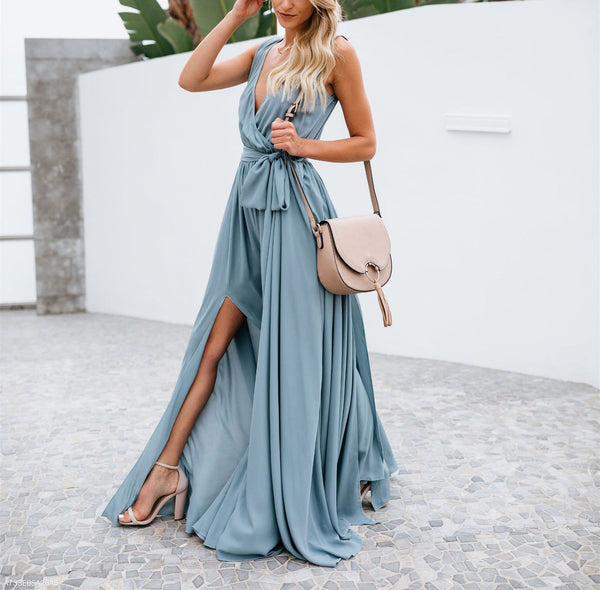 V Neck Sleeveless Multi-Color Cardigan Swagger Maxi Dress