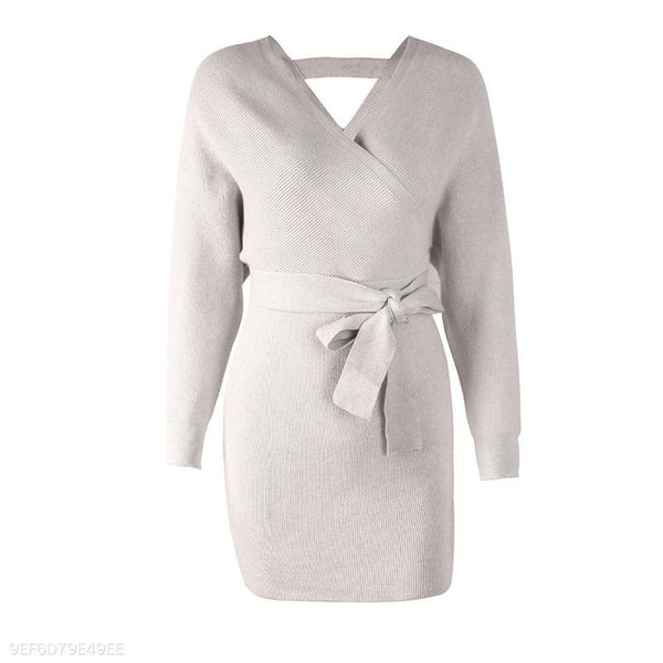 Sexy V Neck Backless Long Batwing Sleeve Knitting Bodycon Dress