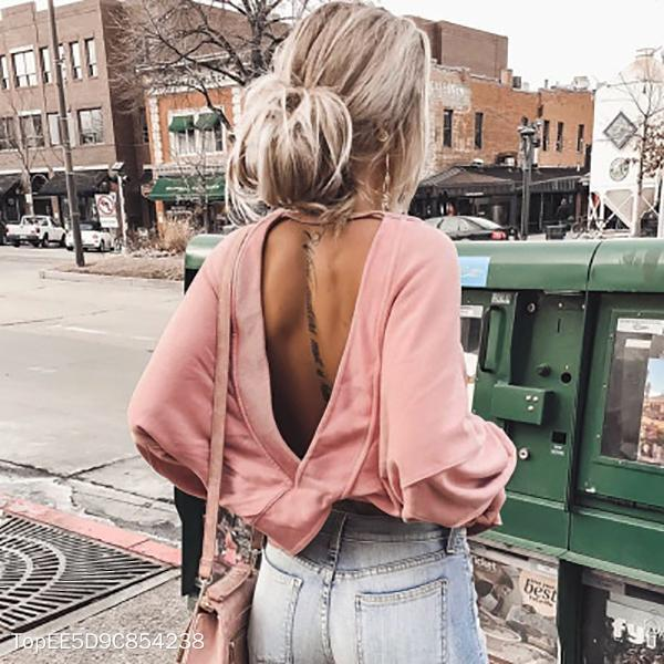 Sexy Backless Oversize Bat Sleeve Sweatshirt