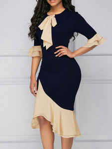 Sliced Body Medium Sleeve Splice Bag Hip Dress