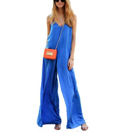 Sexy Suspenders, Blue Wide-Legged Jumpsuits.
