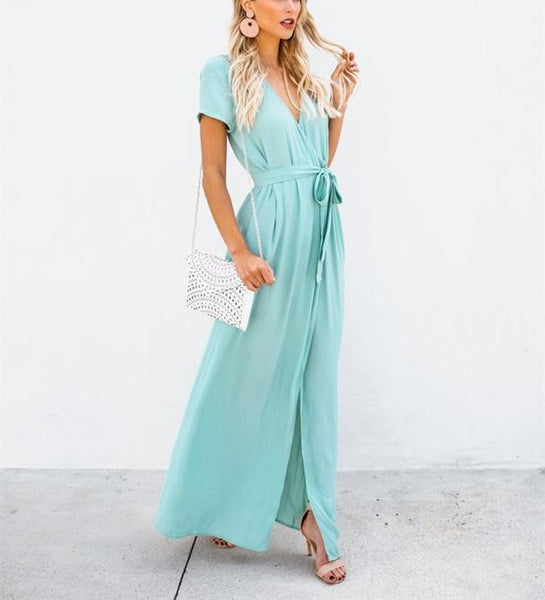 Sexy V-Collar Pure Color Band Open Slit Maxi Dress