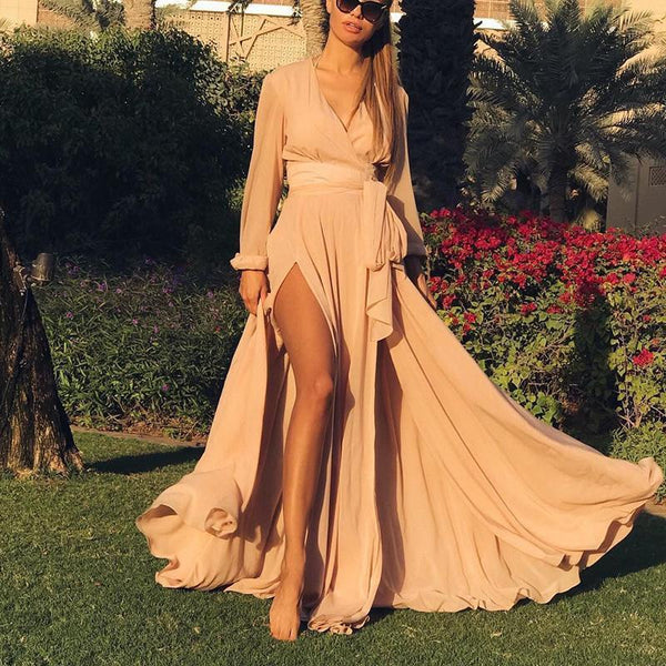 Bohemian V Neck Long-Sleeves Maxi Dress