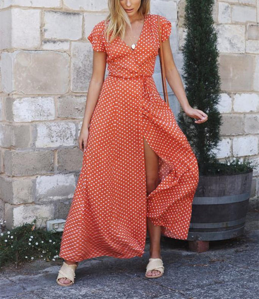V-Collar Casual Band Wave Dot Print Open Slit Dress