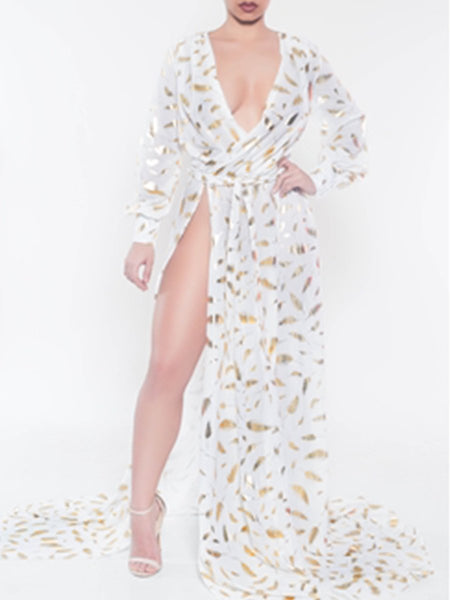 Sexy Side-Opening Golden Feather Printing Long-Sleeves Dress