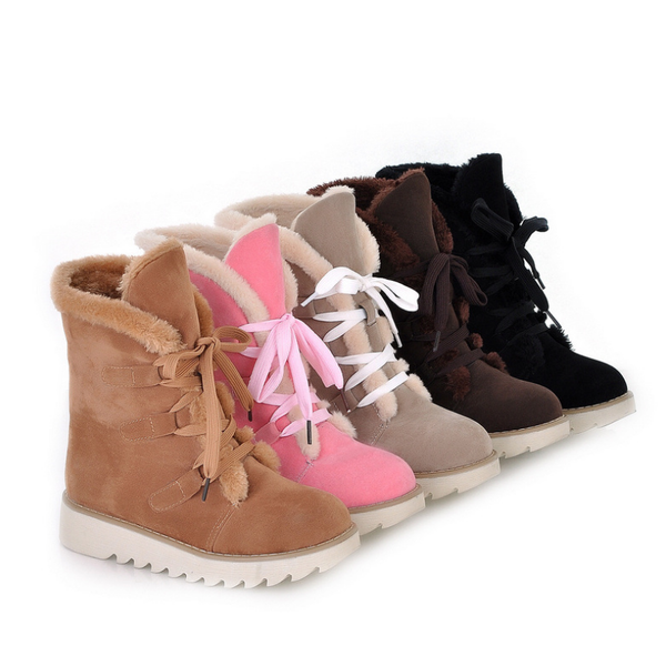 Stylish Lace-Up High Platform Shoes Warm Snow Boots