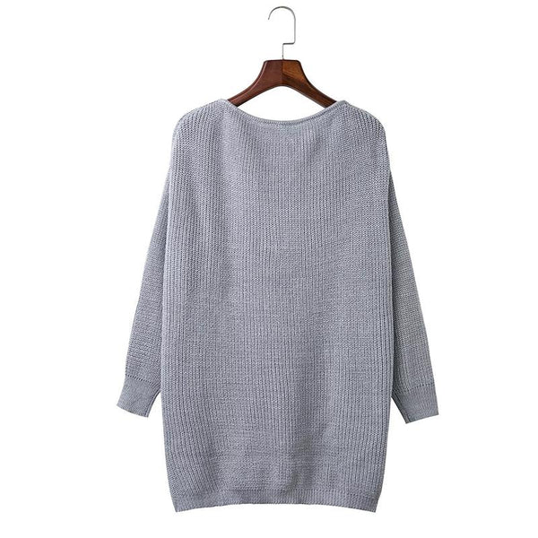 V Neck Long Sleeve Plain Sweaters