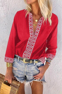 V-Neck Floral Printed Long Sleeve Blouses