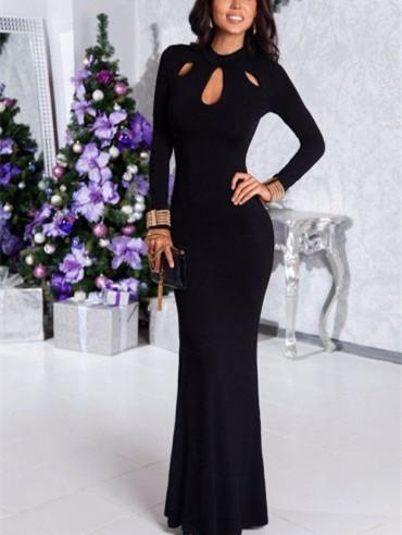 Sexy Hollow Black Long-Sleeved Party Dress