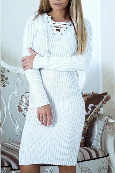 Sexy V-Collar Warm Pack Hip Long Knitted Dress