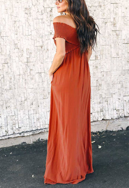 Sexy Wrinkled Design Breast Wrap Maxi Dress