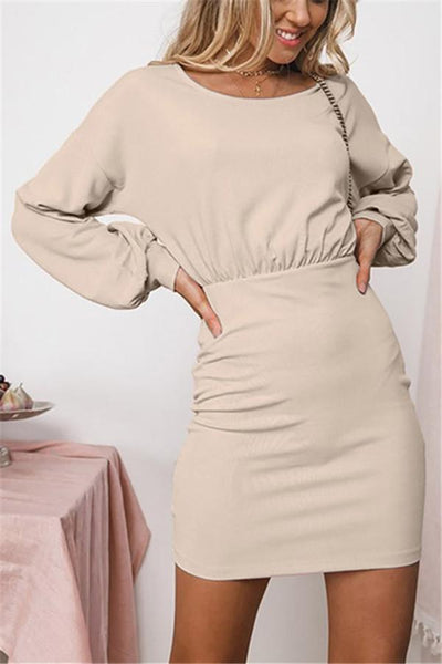 Round Collar Waist Lantern Long-Sleeved Dress