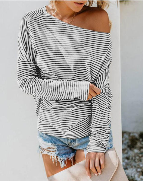 Sexy Striped Loose Bat Long-Sleeved Top