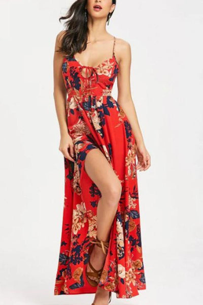 Sexy Printing Halter Backless Dress