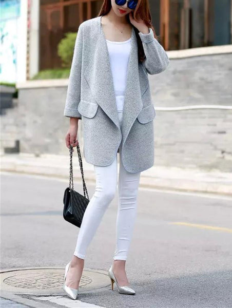 Solid Colored Knitted Cardigan With Suit Collar