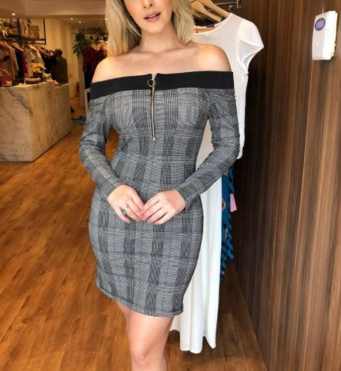 Sexy Shoulder Emblem Bodycon Dresses
