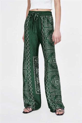 Loose Waist Wide Leg Printing Slacks