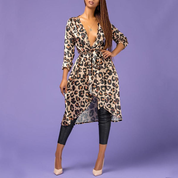 Sexy Deep V Neck Leopard Printed Long Sleeve Asymmetrical Hem Casual Dress