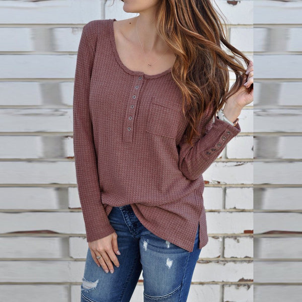 Solid Color Long-Sleeved Button T-Shirt