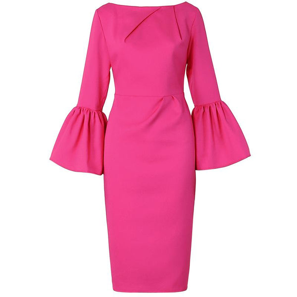 Pure Color Trumpet Sleeve Hip Dress