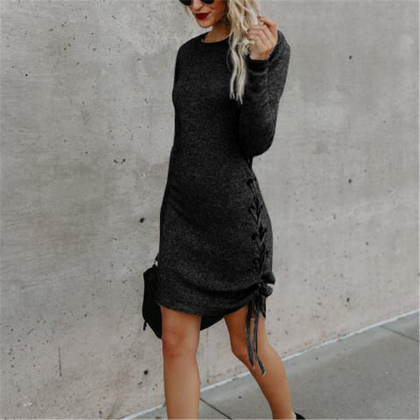 Solid Color Long Sleeve Side Band Wrap Hip Trim Dress