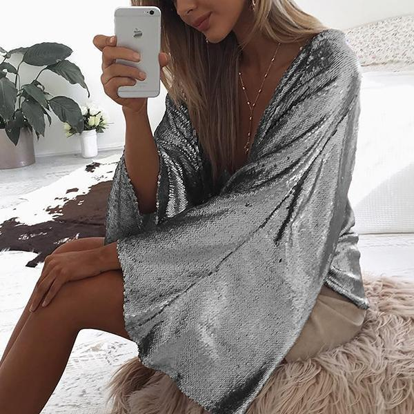 Spring And Autumn Sequined Jacket   Trumpet Sleeve Cardigan