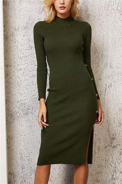 Solid Color Side Clasp Open Fork Wrap Hip Dress