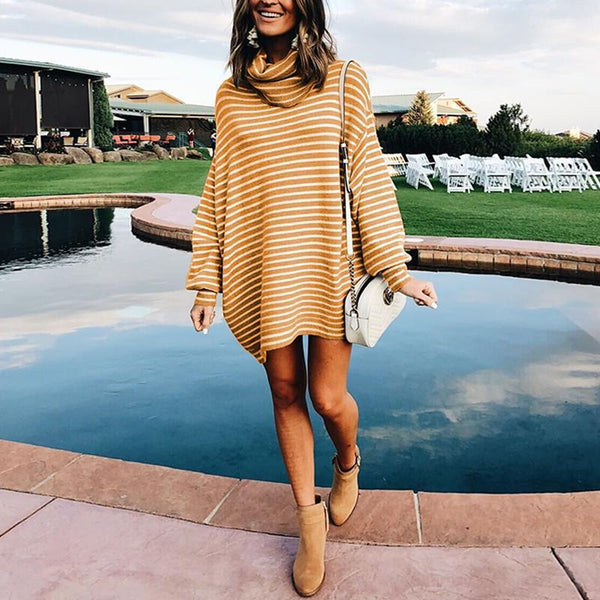 Turtle Neck Long Lantern Sleeve Stripes Knitting Casual Dress