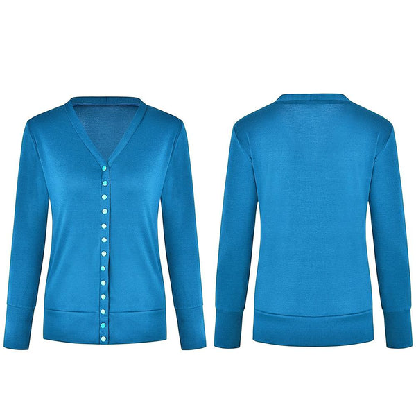 Short Pure Color V Collar Long-Sleeved Button Shirt