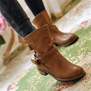 Nifty Casual Leather Plain High Tube Martin Boots