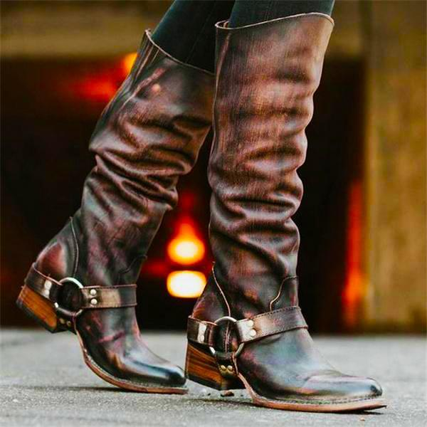 Stylish Leather Plain Thermal High Tube Knight Boots