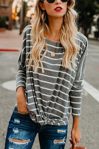 Round Neck  Striped  Batwing Sleeve T-Shirts