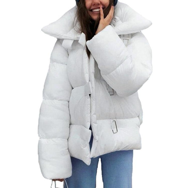 Pure Color Loose Down Jacket With Lapels