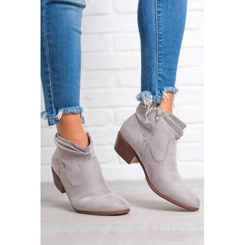 Fashion Suede Side Zipper Pointed Flat Ankle Boots