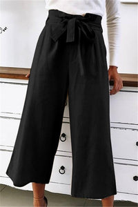 Pure Color High-Waisted Wide-Leg Pants